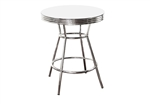 "36"" Tall Chrome Bar Table & 2 Glitter White Vinyl Seat Barstools"