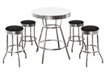 5 Piece Retro White Bistro Bar Table & Pub Set With 4 Barstools Retro Chrome Hardwood Top Traditional Soda Fountain Style man cave mancave Dining
