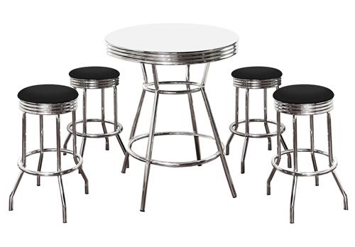 5 Piece Retro White Bistro Bar Table Pub Set With 4 Barstools Chrome Hardwood
