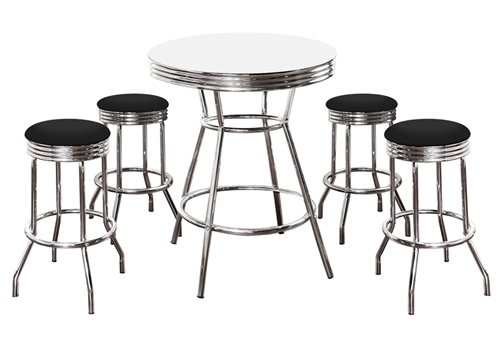 Terrific 5 Piece Retro White Bistro Bar Table Pub Set With 4 Barstools Forskolin Free Trial Chair Design Images Forskolin Free Trialorg