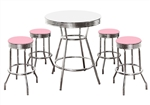Custom Bar Table Pub Set Barstool Barstools Stool Stools Black Vinyl Retro Chrome Hardwood Top Traditional Soda Fountain Style kitchen table set dorm table set dining table set furniture man cave mancave