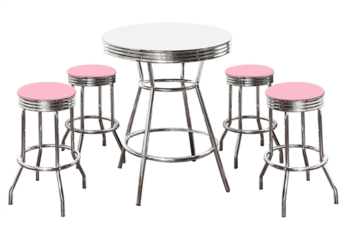 5 Piece Retro Vibe White Bistro/Pub Table Set With 4-29\