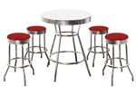 Custom Bar Table Pub Set Barstool Barstools Stool Stools Red Vinyl Retro Chrome Hardwood Top Traditional Soda Fountain Style dorm table set kitchen table set apartment table set furniture man cave mancave