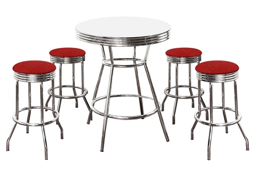 5 Piece Retro White Bistro Table & Pub Set With 4 Red Vinyl Barstools Bar  Stools Dining