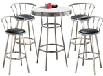 Metal Bar Table with White Table Top & Pub Set With 4 Swivel Seat Bar Stools with Back Rests bistro table set kitchen table sets apartment table dorm table set man cave mancave