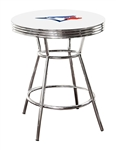 "MLB White and Chrome 42"" Tall Toronto Blue Jays Team Logo Themed Bar Pub Table with a Glass Top Option"