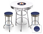White 3-Piece Pub/Bar Table Set Featuring the Houston Astros MLB Team Logo Decal and 2 Blue Vinyl Covered Swivel Seat Cushions