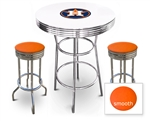 White 3-Piece Pub/Bar Table Set Featuring the Houston Astros MLB Team Logo Decal and 2 Orange Vinyl Covered Swivel Seat Cushions