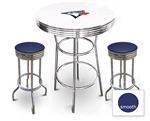 White 3-Piece Pub/Bar Table Set Featuring the Toronto Blue Jays MLB Team Logo Decal and 2 Blue Vinyl Covered Swivel Seat Cushions