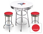 White 3-Piece Pub/Bar Table Set Featuring the Toronto Blue Jays MLB Team Logo Decal and 2 Red Vinyl Covered Swivel Seat Cushions