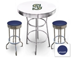 White 3-Piece Pub/Bar Table Set Featuring the Seattle Mariners MLB Team Logo Decal and 2 Blue Vinyl Covered Swivel Seat Cushions