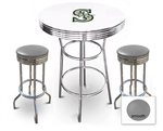 White 3-Piece Pub/Bar Table Set Featuring the Seattle Mariners MLB Team Logo Decal and 2 Gray Vinyl Covered Swivel Seat Cushions