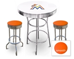 White 3-Piece Pub/Bar Table Set Featuring the Miami Marlins MLB Team Logo Decal and 2 Orange Vinyl Covered Swivel Seat Cushions