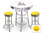 White 3-Piece Pub/Bar Table Set Featuring the Miami Marlins MLB Team Logo Decal and 2 Yellow Vinyl Covered Swivel Seat Cushions