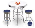 White 3-Piece Pub/Bar Table Set Featuring the New York Mets MLB Team Logo Decal and 2 Blue Vinyl Covered Swivel Seat Cushions