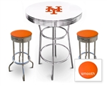 White 3-Piece Pub/Bar Table Set Featuring the New York Mets MLB Team Logo Decal and 2 Orange Vinyl Covered Swivel Seat Cushions