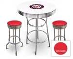 White 3-Piece Pub/Bar Table Set Featuring the Washington Nationals MLB Team Logo Decal and 2 Red Vinyl Covered Swivel Seat Cushions