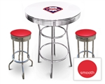White 3-Piece Pub/Bar Table Set Featuring the Philadelphia Phillies MLB Team Logo Decal and 2 Red Vinyl Covered Swivel Seat Cushions
