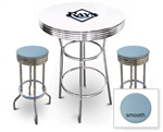 White 3-Piece Pub/Bar Table Set Featuring the Tampa Bay Rays MLB Team Logo Decal and 2 Baby Blue Vinyl Covered Swivel Seat Cushions