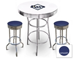 White 3-Piece Pub/Bar Table Set Featuring the Tampa Bay Rays MLB Team Logo Decal and 2 Blue Vinyl Covered Swivel Seat Cushions