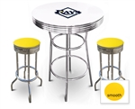 White 3-Piece Pub/Bar Table Set Featuring the Tampa Bay Rays MLB Team Logo Decal and 2 Yellow Vinyl Covered Swivel Seat Cushions