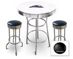 White 3-Piece Pub/Bar Table Set Featuring the Colorado Rockies MLB Team Logo Decal and 2 Black Vinyl Covered Swivel Seat Cushions