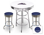 White 3-Piece Pub/Bar Table Set Featuring the Colorado Rockies MLB Team Logo Decal and 2 Blue Vinyl Covered Swivel Seat Cushions