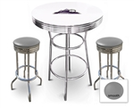 White 3-Piece Pub/Bar Table Set Featuring the Colorado Rockies MLB Team Logo Decal and 2 Gray Vinyl Covered Swivel Seat Cushions