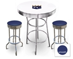 White 3-Piece Pub/Bar Table Set Featuring the Kansas City Royals MLB Team Logo Decal and 2 Blue Vinyl Covered Swivel Seat Cushions