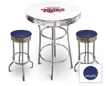 White 3-Piece Pub/Bar Table Set Featuring the Minnesota Twins MLB Team Logo Decal and 2 Blue Vinyl Covered Swivel Seat Cushions