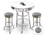 White 3-Piece Pub/Bar Table Set Featuring the Chicago White Sox MLB Team Logo Decal and 2 Gray Vinyl Covered Swivel Seat Cushions