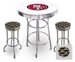 "White 3-Piece Pub/Bar Table Set Featuring the San Francisco 49er's NFL Team Logo Decal and 2-29"" Team Fabric and Clear Vinyl Covered Swivel Seat Cushions"