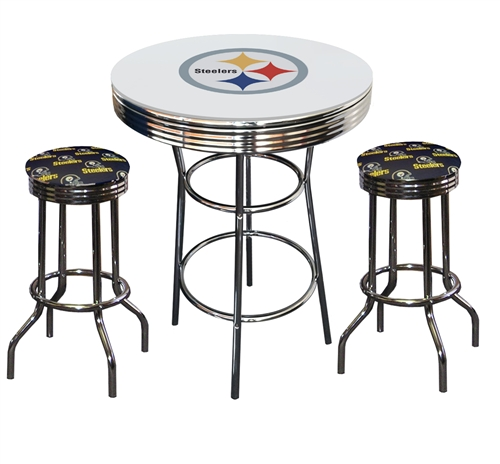 Fine Pittsburgh Steelers Logo Metal Chrome Bar Table Glass Top W 2 Swivel Barstools Uwap Interior Chair Design Uwaporg