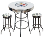 PITTSBURGH STEELERS LOGO METAL CHROME BAR TABLE GLASS TOP W/ 2 SWIVEL BAR STOOLS