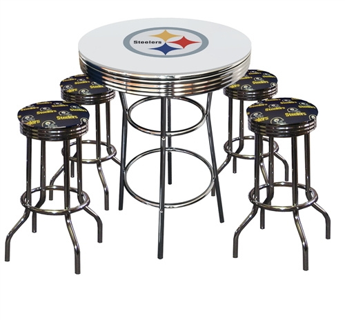 Peachy Pittsburgh Steelers Logo Metal Chrome Bar Table Glass Top W 4 Swivel Barstools Squirreltailoven Fun Painted Chair Ideas Images Squirreltailovenorg