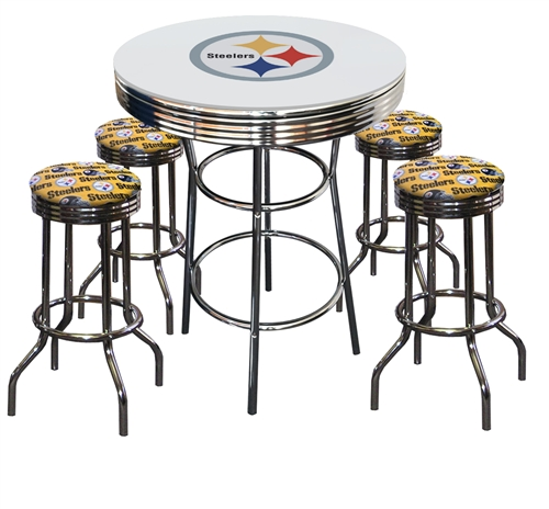 Tremendous Pittsburgh Steelers Logo Chrome Metal Glass Top Bar Table W 4 Yellow Fabric Swivel Barstools Uwap Interior Chair Design Uwaporg