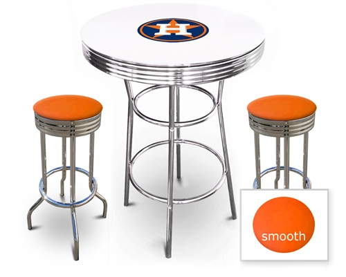 3 Piece White Pub Bar Table Featuring The Houston Astros Mlb Team Logo Decal With A Gl Top And 2 Orange Vinyl Covered Cushions On Swivel Stools