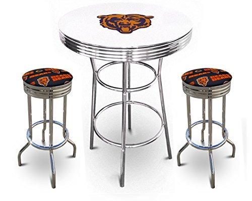 White Pub Bar Table Featuring The Chicago Bears Team Logo Decal With A Gl Top