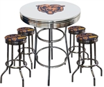 "5 Piece White Pub/Bar Table Featuring the Chicago Bears Team Logo Decal with a glass top and 2 Team Fabric Covered Cushions on 29"" Swivel Stools"