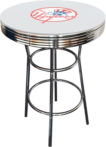 New York Yankees Mlb Logo Chrome Metal Finish Bistro Gl Pub White Bar Table