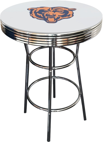 Chicago Bears Football Logo Chrome Metal Finish Bistro Gl Pub Black Bar Table