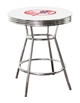 NEW YORK YANKEES MLB LOGO CHROME METAL FINISH BISTRO PUB WHITE BAR TABLE