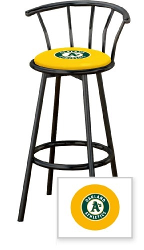 Miraculous 1 29 Black Finish Bar Stool With Backrest Featuring The Oakland Athletics Mlb Team Logo Decal On A Yellow Vinyl Covered Seat Cushion Gamerscity Chair Design For Home Gamerscityorg