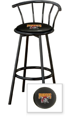 Fantastic 1 29 Black Finish Bar Stool With Backrest Featuring The Pittsburgh Pirates Mlb Team Logo Decal On A Black Vinyl Covered Seat Cushion Squirreltailoven Fun Painted Chair Ideas Images Squirreltailovenorg