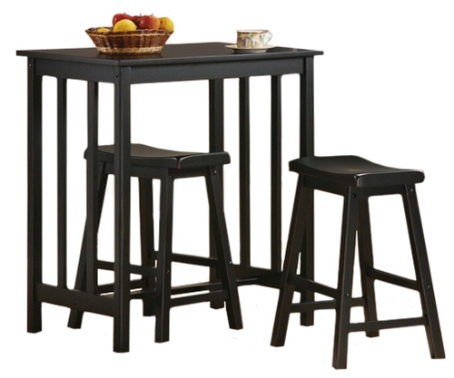 3 Piece Bar Table Set With A 36 Tall Black Finish And 2 24 Saddle Stools