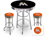 3 Piece Black Pub/Bar Table Featuring the Miami Marlins MLB Team Logo Decal and 2 Orange Vinyl Team Logo Decal Swivel Stools
