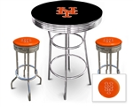 3 Piece Black Pub/Bar Table Featuring the New York Mets MLB Team Logo Decal and 2 Orange Vinyl Team Logo Decal Swivel Stools