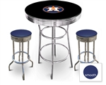 3 Piece Black Pub/Bar Table Featuring the Houston Astros MLB Team Logo Decal and 2 Blue Vinyl Covered Cushions on Swivel Stools