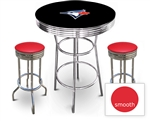 3 Piece Black Pub/Bar Table Featuring the Toronto Blue Jays MLB Team Logo Decal and 2 Red Vinyl Covered Cushions on Swivel Stools