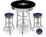 3 Piece Black Pub/Bar Table Featuring the Milwaukee Brewers MLB Team Logo Decal and 2 Blue Vinyl Covered Cushions on Swivel Stools